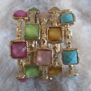 Set of 5 Gold Toned Faux Gemstone Bracelets